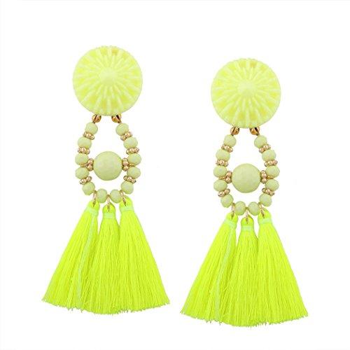 JUNBOSI Girls Accessories Long Tassel Earrings Lady Handmade Braid Long Tassel Dangle Earrings Womens/Girls Party Jewellery (Color : Fluorescent yellow, Size : One size) - Braid Yellow Earrings