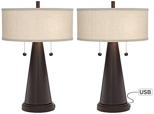 Match Bronze Table Lamp - Craig Bronze Table Lamp with USB Set of 2