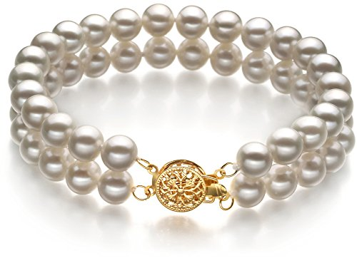 Lola White 6-7mm Double Strand AA Quality Freshwater Cultured Pearl Bracelet For Women-7 in length