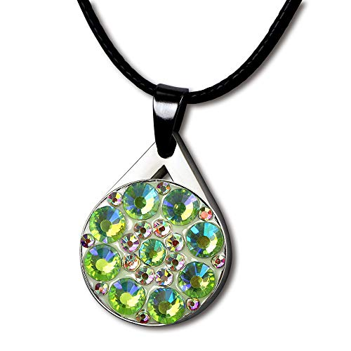 GOLTERS Crystal Golf Balll Markers with Magnetic Golf Necklace for Lady Golfer (AB Green) ()