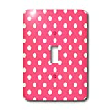 3dRose LLC lsp_20403_1 Pink and White Polka Dot Print - Single Toggle Switch