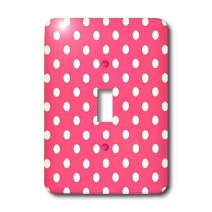 3dRose LLC lsp_20403_1 Pink and White Polka Dot Print - Single Toggle Switch