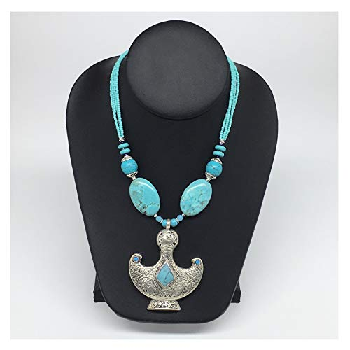 WatanGems 1pc,Turkmen Necklace Pendant Statement Tribal Drop Shape Synthetic Blue Turquoise Pendant Beaded Necklace Handmade from Afghanistan, 20-22