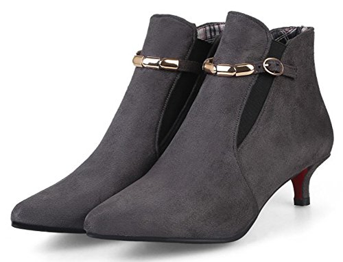 Easemax Women's Trendy Elastic Low Stiletto Heel Ankle High Boots Grey lHFqUdua8l