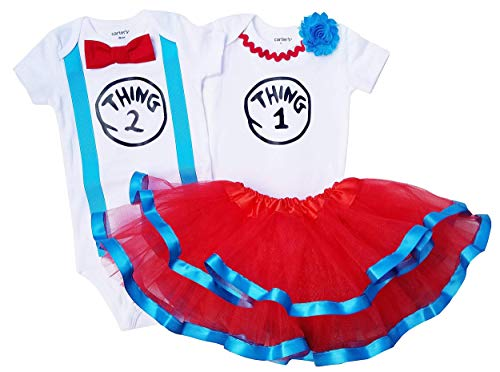 Boy Girl Twin Outfits Thing 1 and Thing 2 Tutu USA Made Outfit(09M Long Sleeve) (Thing 1 And Thing 2 Long Sleeve Onesies)