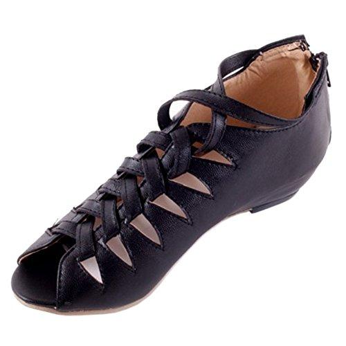 Eclair Fermeture Chaussures Talons Noir TAOFFEN Toe Peep Bottillons Gladiateur Femmes Sandales Bas xnnC0FqOw