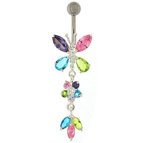 Coloré Multi couleur cristal Pierre fantaisie papillon avec double fleurs pendantes argent 925 Sterling avec anneau de nombril en acier inoxydable