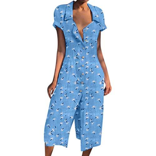 JJLIKER Womens 1950s Vintage Floarl Print V Neck Lapel Button Short Sleeve Dress Slim Casual Soft Shirt Dress Light Blue