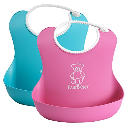 babybjorn-soft-bib-2-pack-pink-turquoise