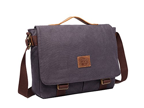Genda 2Archer Bolsa de Mensajero Durable de Lona de Algodón Bolsa Tracolla Paquete de dia (38cm*10.5cm*30cm) (Negro) Azul