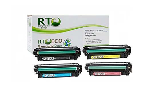 Renewable Toner 507A | 507X Compatible Color Toner Set Replacement HP 507A HP 507X for HP LaserJet M551 M575 (CMYK, 4-Pack)