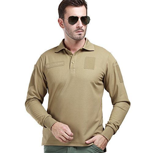 Cheap FREE SOLDIER Men's Long Sleeve Polo Shirt Breathable Coolmax Tactical Polo