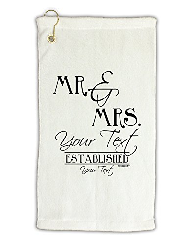 TooLoud Personalized Mr and Mrs -Name- Established -Date- Design Micro Terry Gromet Golf Towel 16