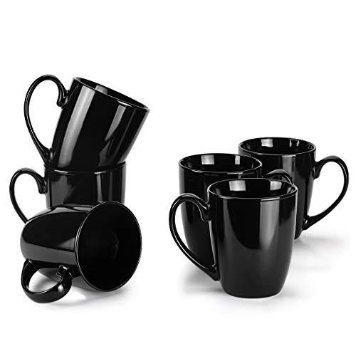 - MIWARE 13 Ounce Porcelain Mugs, Set of 6, Large Handle Tea and Coffee Mug Set, Black, Cool Mugs