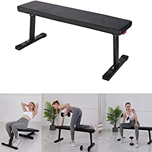 """SAQIMA Flat Utility 600 lbs Foldable Capacity Weight Bench, 41"""" Flat Bench Workout Utility Bench Capacity Sit Up Bench Weight Training and Abdominal Training Folding Bench for Home"""