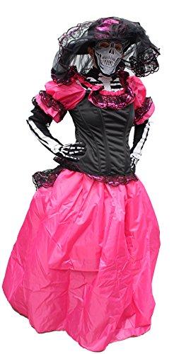 Trade MX Catrina Premium Women Dress Costume Made in Mexico (Medium, Pink)