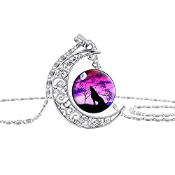 Linsh Dome Moon Howling Wolf Time Gems Pendant Necklaces Hollow Out Carved Fashion Jewelry