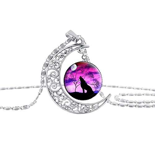 Linsh Dome Moon Howling Wolf Time Gems Pendant Necklaces Hollow Out Carved Fashion Jewelry Style 1