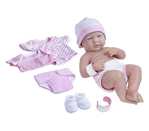 8 piece Layette Baby Doll Gift Set | JC Toys – La Newborn Nursery | 14″ Life-Like Newborn Doll w/ Accessories | Pink | Ages 2+