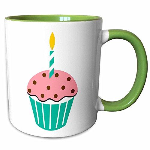 3dRose TNMGraphics Food and Drink - Chocolate Peppermint Cupcake Cartoon - 15oz Two-Tone Green Mug - Peppermint Chocolate Cupcakes