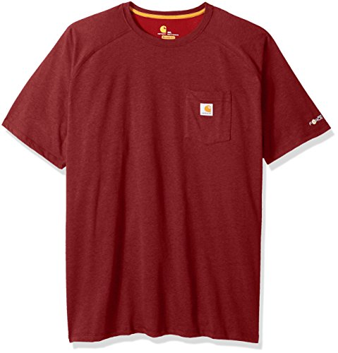 Carhartt Men's Big Force Cotton Delmont Short Sleeve T-Shirt (Regular and Big & Tall Sizes), red/Brown Heather, X-Large Tall ()