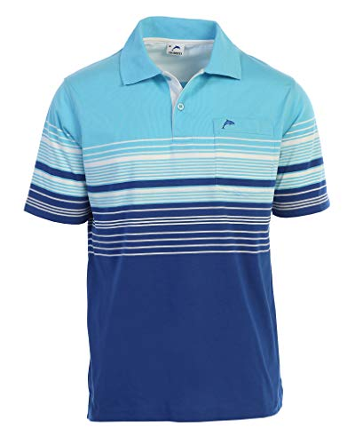 Gioberti Mens Slim Fit Striped Polo Shirt with Pocket, Blue with Dolphin Logo, Large