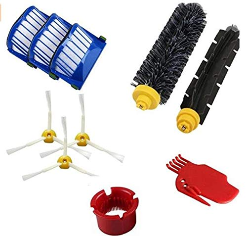 (DLD Accessory for Irobot Roomba 600 610 620 650 Series Vacuum Cleaner Replacement Part Kit - Includes 3 Pack Filter, Side Brush, and 1 Pack Bristle Brush and Flexible Beater)