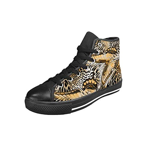 INTERESTPRINT Women's High Top Canvas Casual Sports Sneaker Butterfly Snake Zebra Skin US11 (Zebra High Top Sneakers)