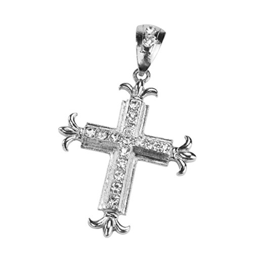 YJYdada Sharp Sides Rhinestone Cross Pendant Hip-hop Cuban Necklace - To A Eyeglass Z Repair