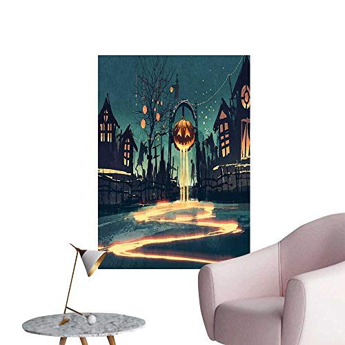 Wall Decorative Halloween Theme Night Pumpkin and House Ghost Town ful Teal Orange Pictures Wall Art Painting,12