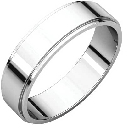 Platinum 5mm Flat Edge Band, Ring Size 7.5
