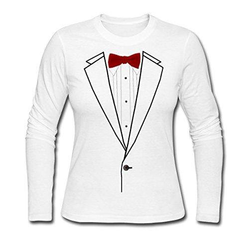[Costume Tuxedo Suit Women's Long Sleeve Jersey T-Shirt by Spreadshirt, L, white] (Womens Tuxedo Costumes Tshirt)