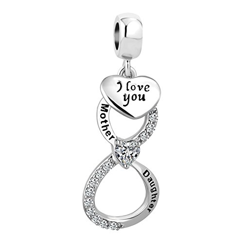 Charmed Craft Red Heart Infinity Love Charms Mother Daughter Charms Mom I Love You Charm Beads for Bracelets (White)