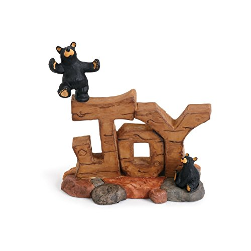 (DEMDACO Joy Black Bear 5.5 x 3.5 Hand-cast Resin Figurine Sculpture )