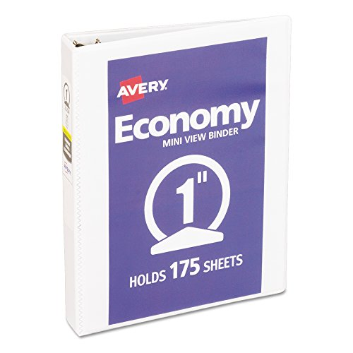 Avery Mini Economy View Binder with 1 Inch Round Ring, 5.5 x 8.5 inches,  White, 1 Binder - Binders Durable View Avery Reference