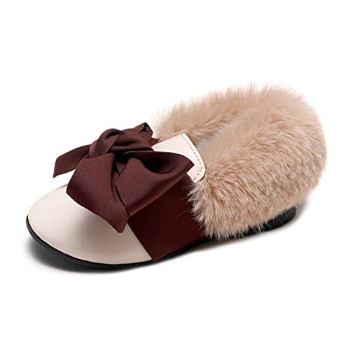 - ZX Boots Toddler Girls Ballet Flats Mary Janes Fuax Fur Winter Party Dress School Shoes with Bowknot(Beige-9 M US Toddler)