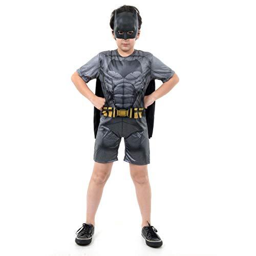 Batman Curto com Musculatura Infantil Sulamericana Fantasias Cinza G 10/12 Anos