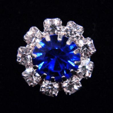#14062 Medium Rhinestone Rosette Button - Sapphire Center ()