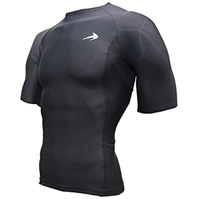CompressionZ Men's Short Sleeve Compression Shirt - Athletic Base Layer for Fitness, Cycling, Training, Workout, Tactical Sports Wear - Cool Dry Running Shirt - Thermal Rash Guard Protection By