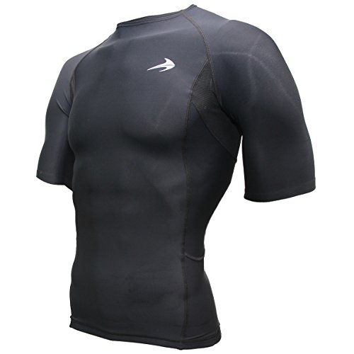 Compression Shirt Short Sleeve Top (Black - XL) Best Running T-Shirt & Basketball Men's Tee