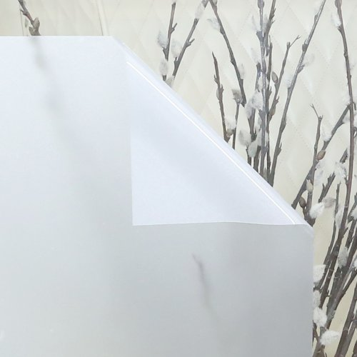 Non-Adhesive Frosted Privacy Window Film- 3 ft x 6.5 ft- White - WDF