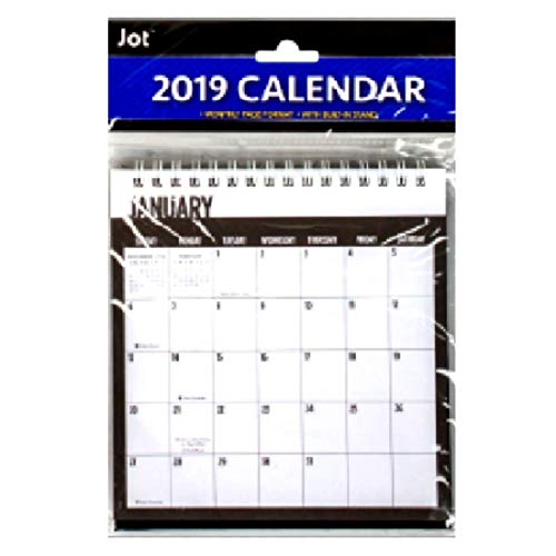 2019 Black and White Monthly Desk Calendars with Built-in Stands Black And White Monthly Desk