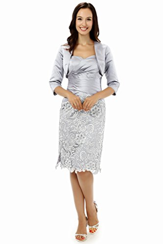 Albrose Short Satin Formal Mother of the Bride Dress Prom Dresses Silver US24