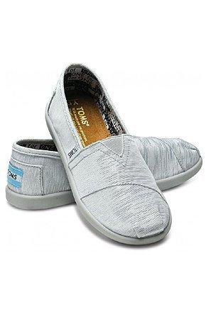Mocasines para chicas TOMS, modelo Silver Glimmer Youth Classics - Plateado brillante, 33: Amazon.es: Zapatos y complementos