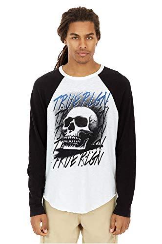 True Religion Men's Airbrushed Skull Raglan Long Sleeve Tee T-Shirt in True Black/White Combo (XXX-Large) ()