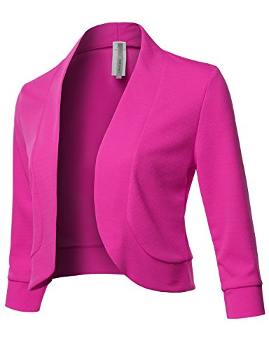 Solid 3/4 Sleeves Open Front Bolero Jacket Shrug - Made in USA Fuchsia XL