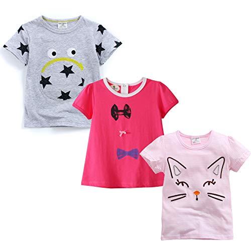 MSsmart Toddler Girls T-Shirt Short Sleeve Pajamas Top 3-Pack Size 18M
