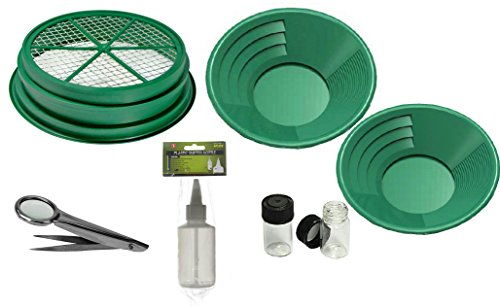 Price comparison product image SE GP5-KIT107 Prospecting Mining Panning Kit Classifier and 2 Gold Pans (7 PC.)