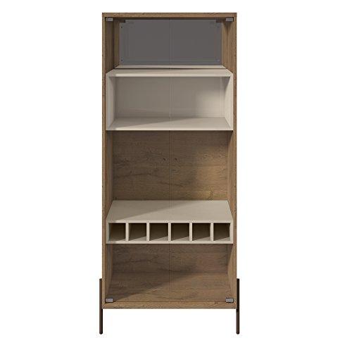 Manhattan Comfort 350704 Joy Series Mid-Century Modern Wine Display Cabinet, Off-White (Manhattan White Wine)