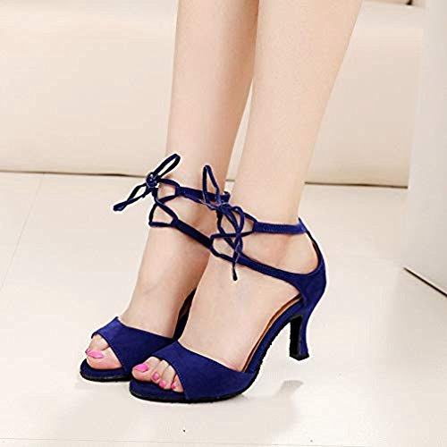 T Dance Sandals Peep Ladies Shoes Soft JULY Women Dancing Blue Morden Toe Suede Ballroom Tango Salsa Latin 44pAwqx